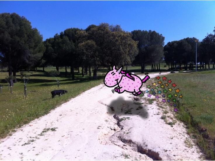 Unicornio por el parque en primavera