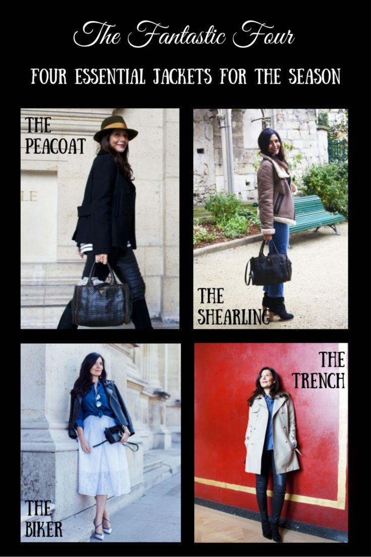 Four Jackets to choose from to keep warm. #PeaCoat #Trench #BikerJacket #ShearlingCoat check out how to style these fantastic four jackets to suit your style on our blog