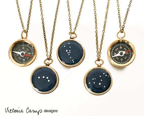 Small compass necklace with any constellation painted on the other side. These are beautiful!