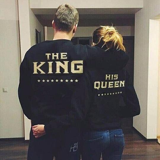 The King and His Queen Love Matching Men Women Sweatshirts Couple Hoodies Tops