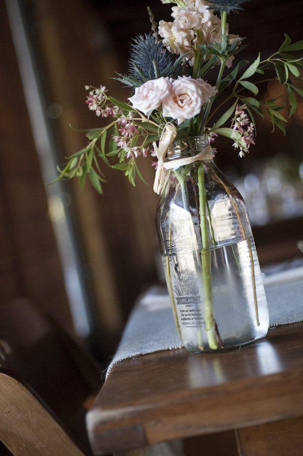 vintage milk bottles look great for vases!