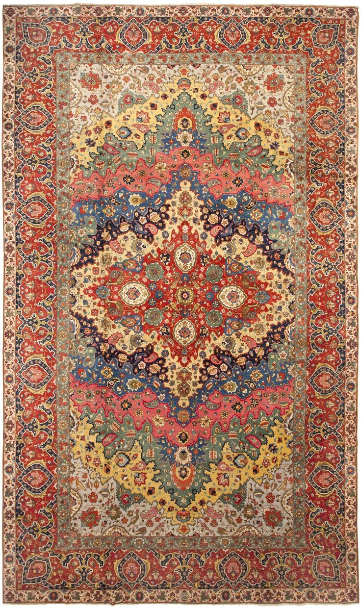 Antique Persian Tabriz Rug-It's hard to go wrong when you pull your color scheme from a gorgeous carpet like this! #color #scheme #colorscheme