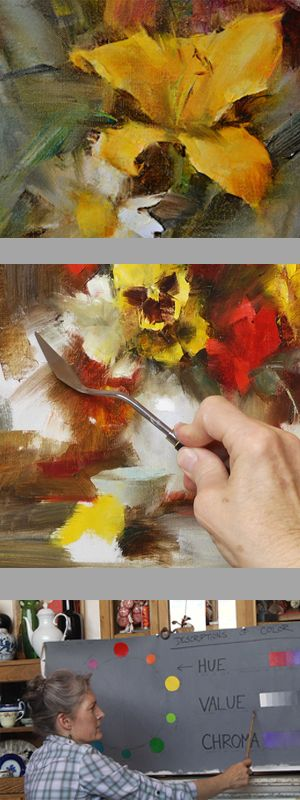 Laura Robb - Sill Life - ONLINE course. Struggling with painting flowers? Do want to be a looser painter? Visit us and find out more about this course.  http://www.tucsonartacademyonline.com/laura-robb-artist-online-workshop