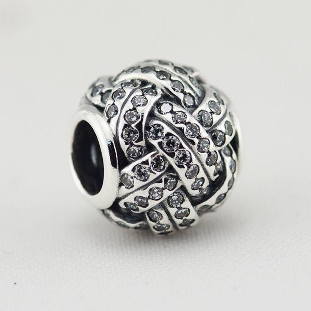 1 шт./лот CZ Любовь узел серебряные подвески Стерлингового Серебра 925 DIY шарики, пригодный для Pandora Браслеты бесплатная доставка FL212