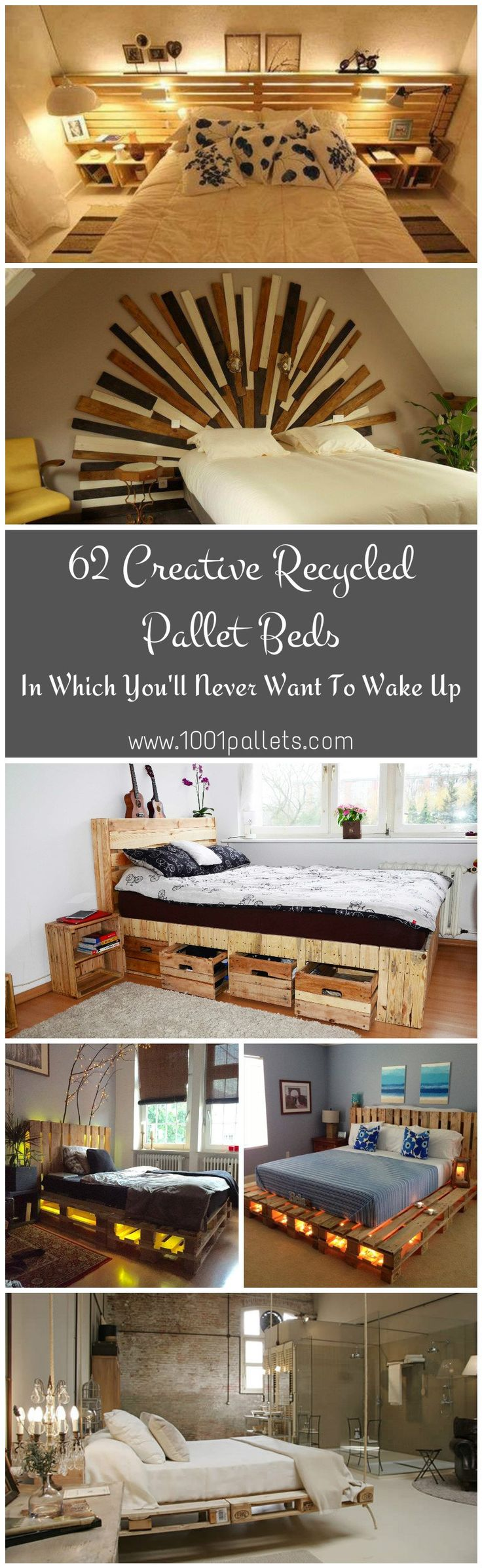 At 1001Pallets, we regularly receive creative ideas of beds made from recycled pallets. Today we will present you a selection of 62 beds, bed frames and headboards made from recycled pallets. Those beds are so beautiful that you'll never want to wake up from them, maybe that could be a good excuse to justify your delay to your boss :)