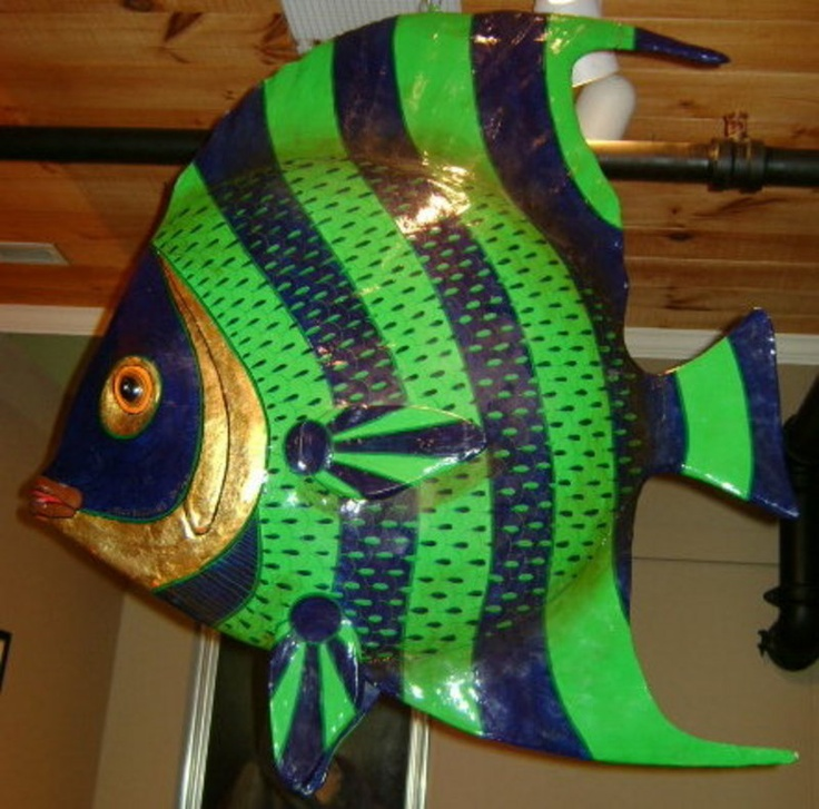 Fish sculpture from papier mache'
