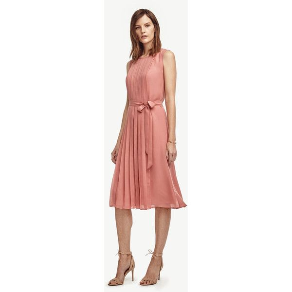 Ann Taylor Petite Pleated Belted Midi Dress ($179) ❤ liked on Polyvore featuring dresses, old rose, ann taylor, petite midi dresses, red rose dress, belted dress and petite dresses