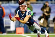 Julian Edelman #11 of the New England Patriots attempts to catch a pass during the second quarter against the Cincinnati Bengals at Gillette Stadium on October 5, 2014 in Foxboro, Massachusetts.
