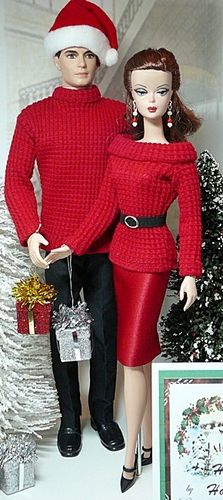 Christmas Barbie and Ken  via donna's doll designs