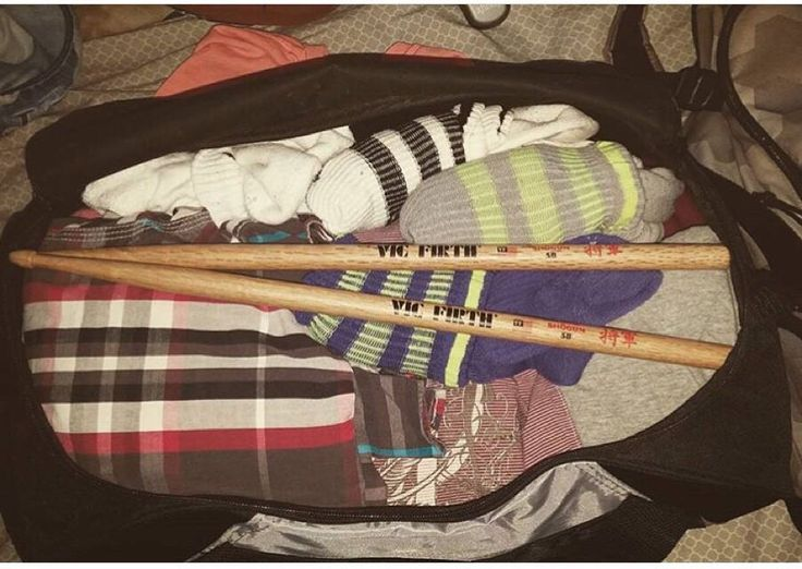 """from @_simonthekid """"packing for a long trip but can't forget the sticks to keep practicing during off time"""" #LiveToPlay by vicfirth"""