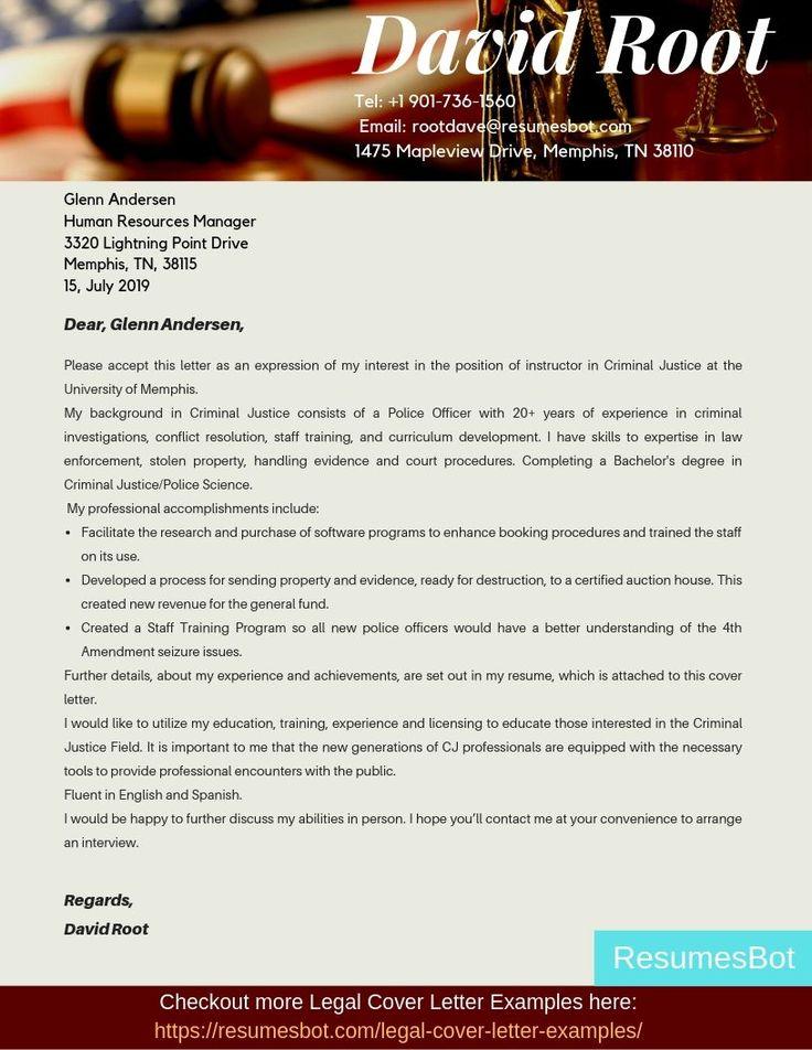 Criminal justice cover letter samples templates pdf