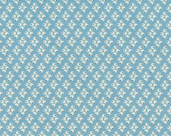65+cm+Reststück+Patchworkstoff+FLORENCE+mit+Vierer-Punkte-Muster,+himmelblau