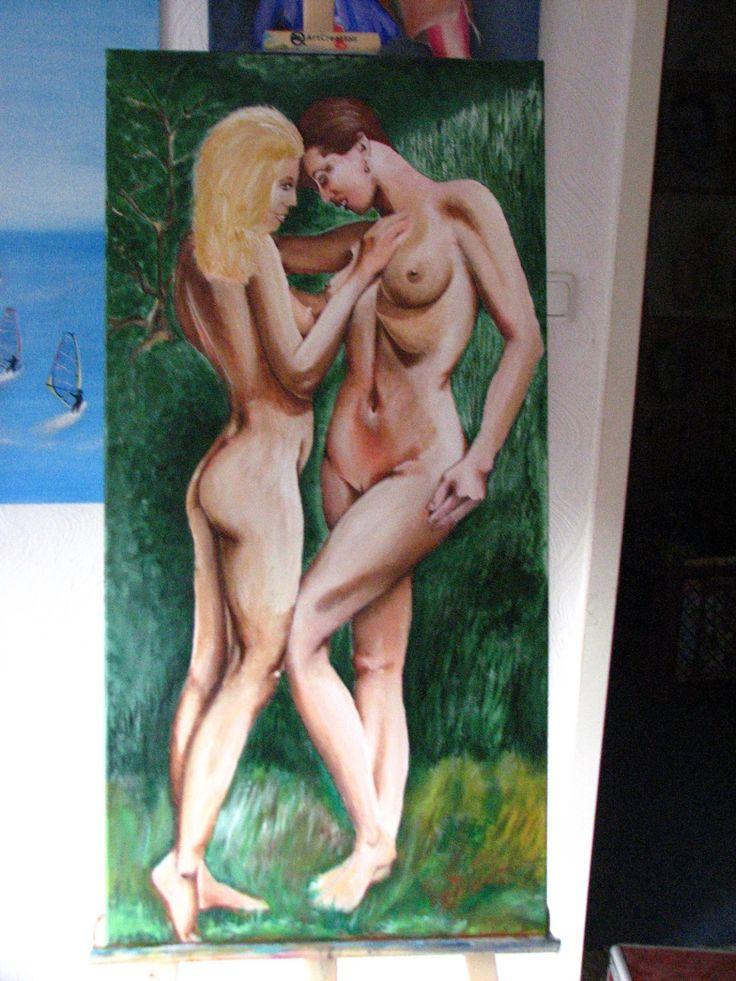 Eva und Eva im Paradies-Acrylic on canvas 40x80