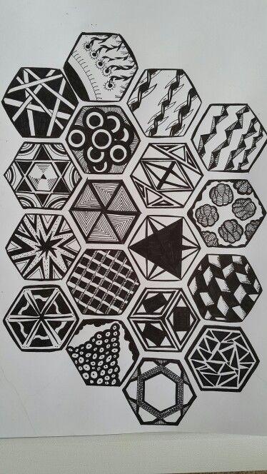 Zentangle of Hexagons