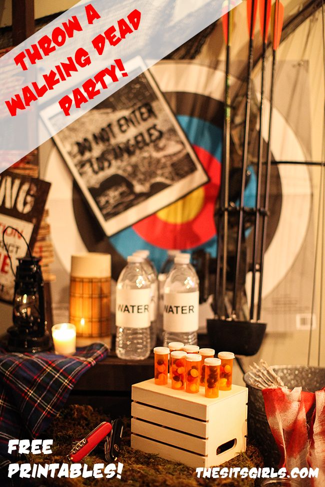 Throw the perfect Fear The Walking Dead viewing party for all your zombie-loving friends! Click for Walking Dead party inspiration and free printables. These zombie party ideas are great for The Walking Dead or for a Halloween party.