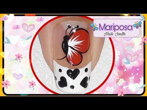Decoración De Uñas Mariposa Paso A Paso En Color Rojo Youtube
