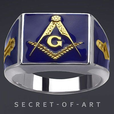 BLUE LODGE MASONIC SILVER 925 RING 24K GOLD-PLATED