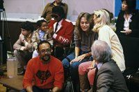 """Emmanuel Lewis, Michael Jackson and Quincy Jones at the recording session for Frank Sinatra's album """"L.A. Is My Lady"""""""