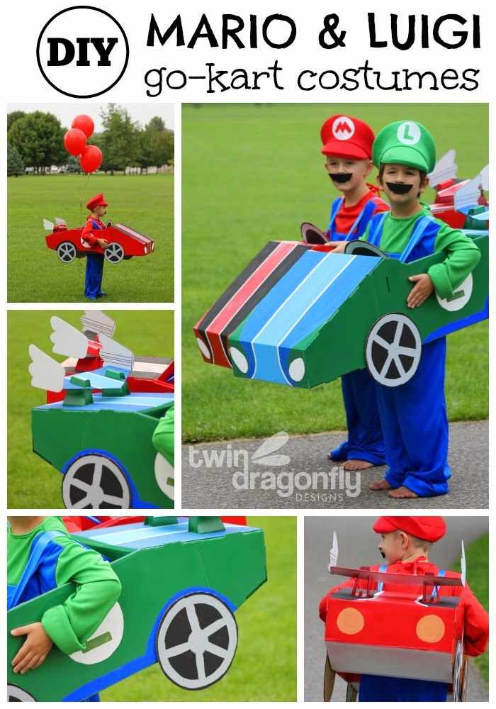 Mario and Luigi Go Kart Costumes Halloween Blog Hop » Dragonfly Designs