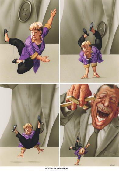 """Haderer-Karikatur vom 23. April 2016: """"Die türkische Humorkanone"""" Mehr Karikaturen auf: http://www.nachrichten.at/nachrichten/fotogalerien/cme14862,1473458 (Bild: Haderer)"""