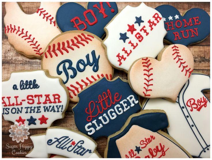vintage baseball baby shower, All Star Baby, Little Slugger, sugar cookies, royal icing