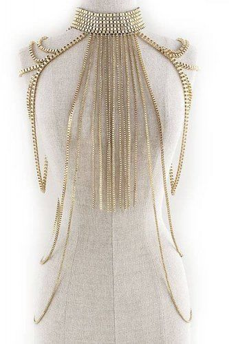 CLEOPATRA SHOULDER BODY CHAIN STATEMENT NECKLACE WOMENS HARNESS GOLD STATEMENT #Unbranded