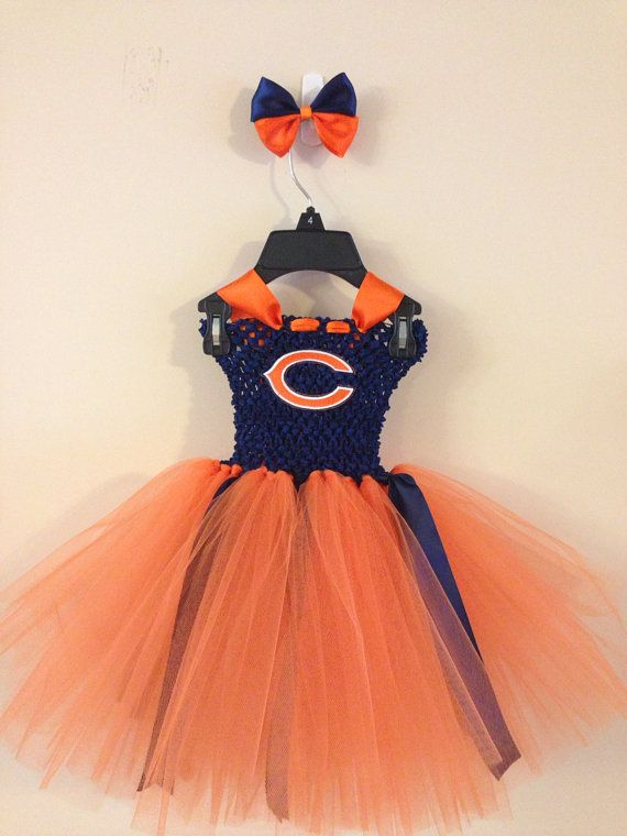 Chicago bears inspired tutu dress and matching bow size nb 3m 6m 9m 12m 18m 24m 2T on Etsy, $27.00