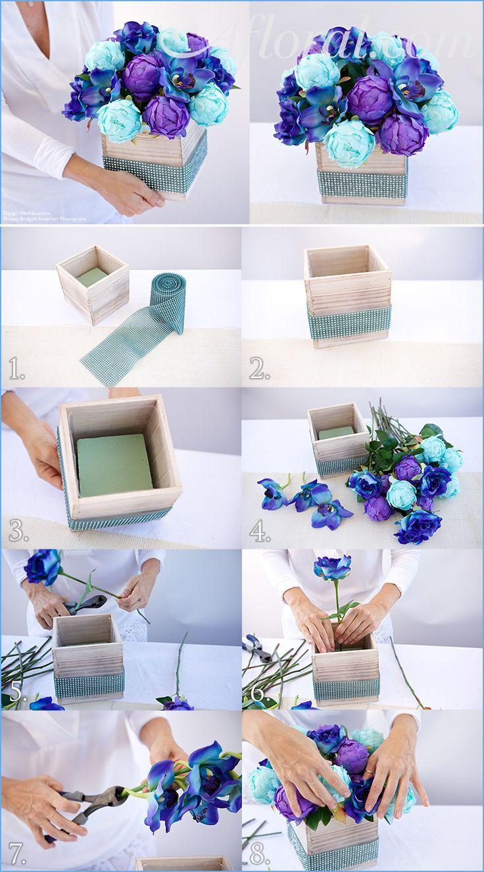 Que tal criar este lindo centro de mesa de peônias e orquídeas?! Um DIY simples, fácil e bonito, que pode ser usado para decorar seu casamento, chá ou qualquer outro tipo de evento, inclusive sua casa!