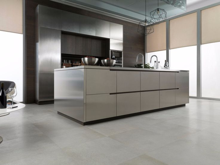 steel and wood fitted kitchen with island e790 by gamadecor antis fusion fitted kitchens euromobil