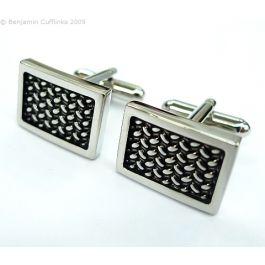 Black Enamel Basketweave Cufflinks - Black enamel over a basketweave pattern in a classic rectangular cufflink.