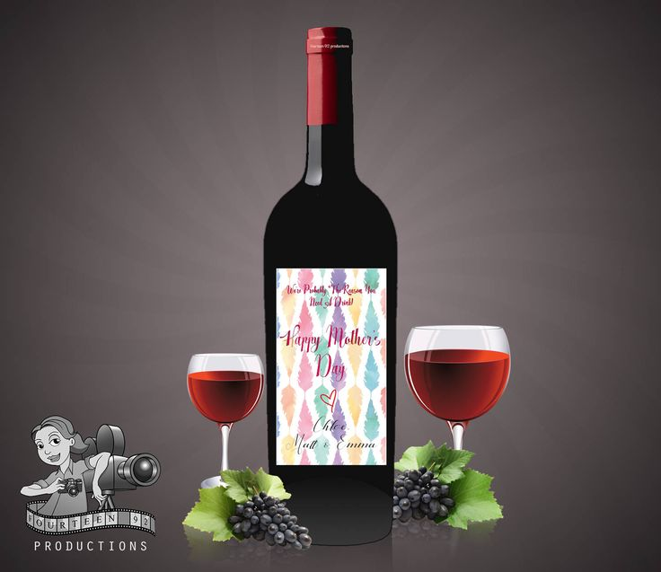 Mother's Day Wine Label Watercolour Feathers by fourteen92prod on Etsy https://www.etsy.com/au/listing/512105648/mothers-day-wine-label-watercolour