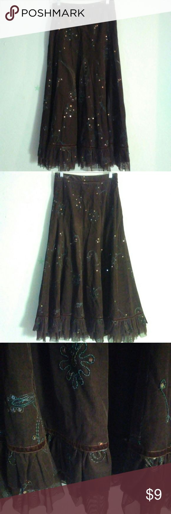 """Tribal Maxi skirt embroidered and sequin detail Gently worn Size 4 Zip closure  Waist 30"""" Length 37"""" Hip 42"""" Dark brown corduroy maxi skirt Tribal Skirts"""