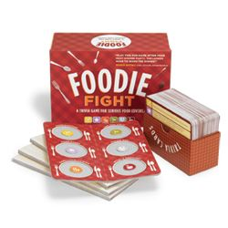 Foodie Fight Trivia Game>  Foodie Fight is like Trivial Pursuit for food lovers. Did Julia Child work for the Secret Service? Are avocados fruit or vegetable? This is afun game and conversation starter for dinner parties. www.amazon.com
