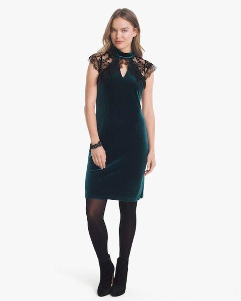 Women's Cap Sleeve Lace Veiling Velvet Shift Dress by WHBM