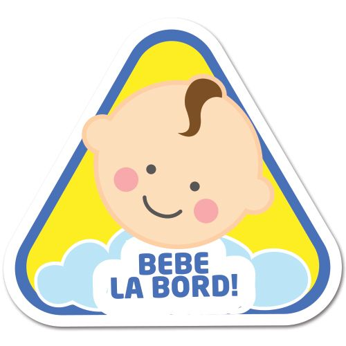 Autocolant (sticker) auto ce reprezinta un bebelus baietel cu mesajul Bebe la bord.