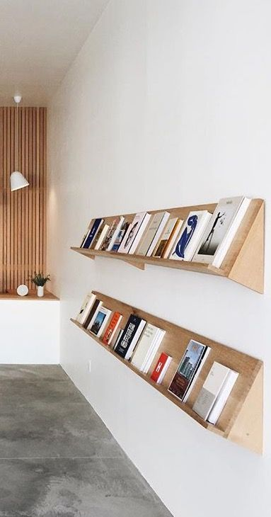 Clean, simple DIY minimalist bookshelf display