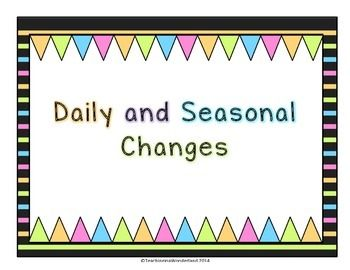 This+activity+pack+discusses+Daily+and+Seasonal+Changes.+It+is+aligned+with+the+Grade+1+Ontario+Science+curriculum.+This+activity+pack+includes:-+Worksheets-+Readings-+Mini-Center+Activity+(rearranging+the+seasons/days+of+the+week+&+months+in+the+correct+order)-+Word+Wall+Cards-+Vocabulary+PostersThe+concepts+addressed+in+this+activity+pack+are:-+What+are+daily+and+seasonal+changes?-+The+Four+Seasons-+Plant/Animal/Human+adaptations+to+seasonal+changes-+Weather+and+temperature+recording+an...