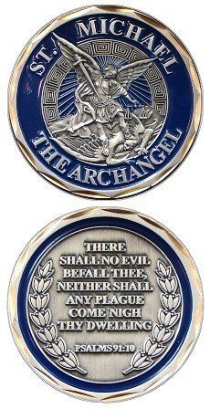 Saint Michael Coin  http://smile.amazon.com/dp/B004NR1GUO/ref=cm_sw_r_pi_dp_uLUWtb10RTX61M64