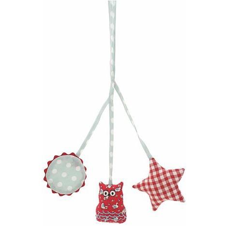 Alimrose Owl Pram Toy in Red Check & Blue Spots