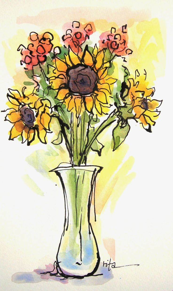 Simple painting idea with sunflowers in a vase. Add some circles of color and strokes of color for leaves and vase and then ink in ore with thicker black water color, paint scribble lines of detail. Cute painting! Sketchbook Wandering. Please also visit www.JustForYouPropheticArt.com for more colorful art you might like to pin or purchase. Thanks for looking!
