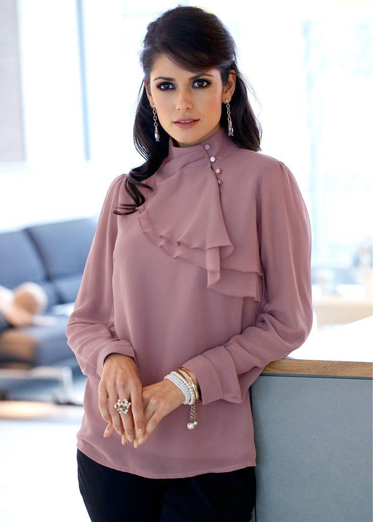Elegante Bluse mit femininen Volants im Brustbereich - ecrú