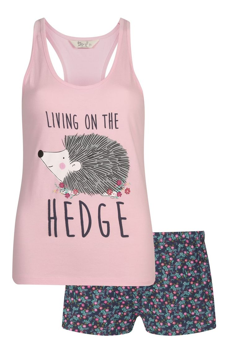 Pink Hedgehog Cami/Shorts PJ Set