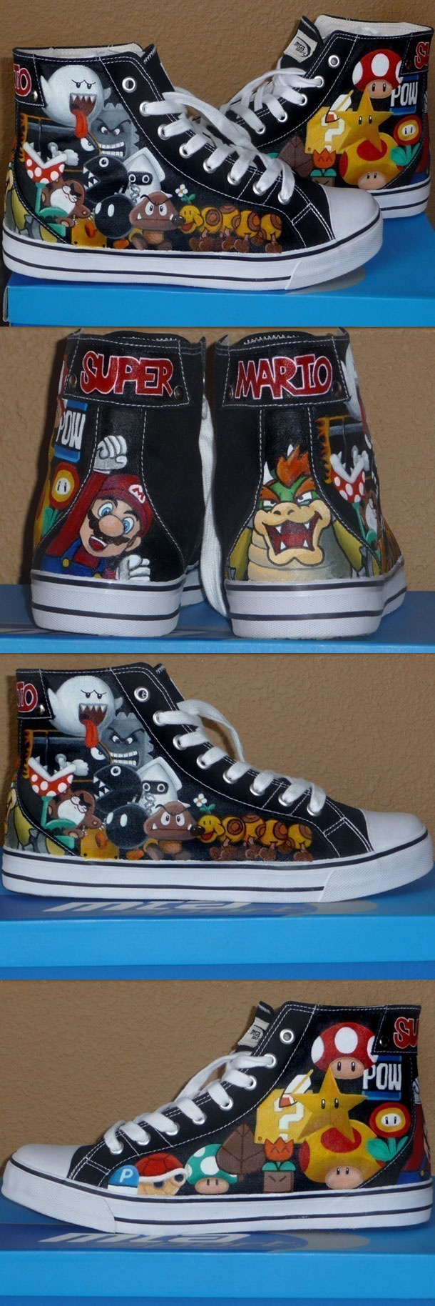 Coolest Super Mario shoes I've seen so far! Covered in power ups and enemies