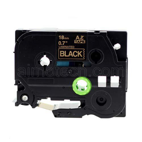"Brother TZe-344  Label Tape, 18mm (0.75"") Gold on Black, Compatible"
