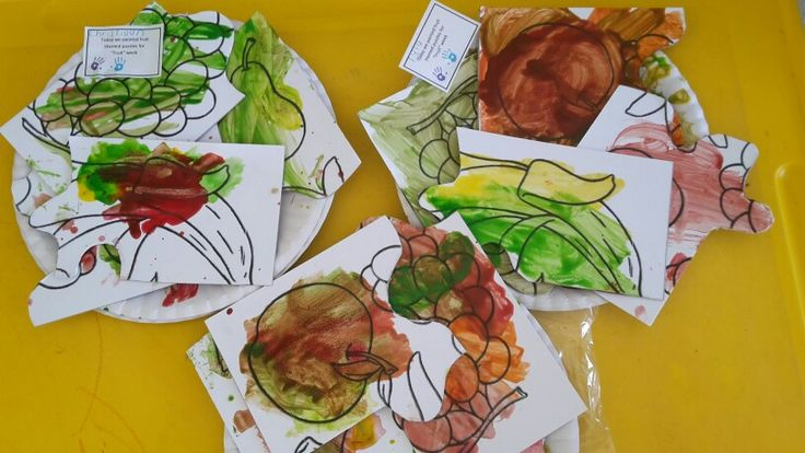 These are our fruit themed puzzles we painted. I printed a template and pasted it onto hardboard. It was a bit tricky to cut, but I only made 4p puzzles because through children are mostly toddlers.  The children built the puzzle first, then painted it.