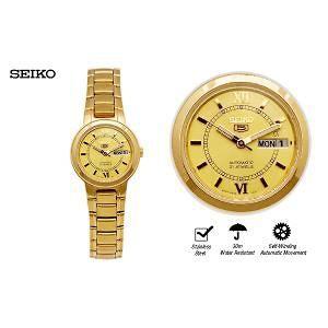 SEIKO Ladies Automatic SS/Gold Tone Luminous Hardlex Crystal Glass SYM