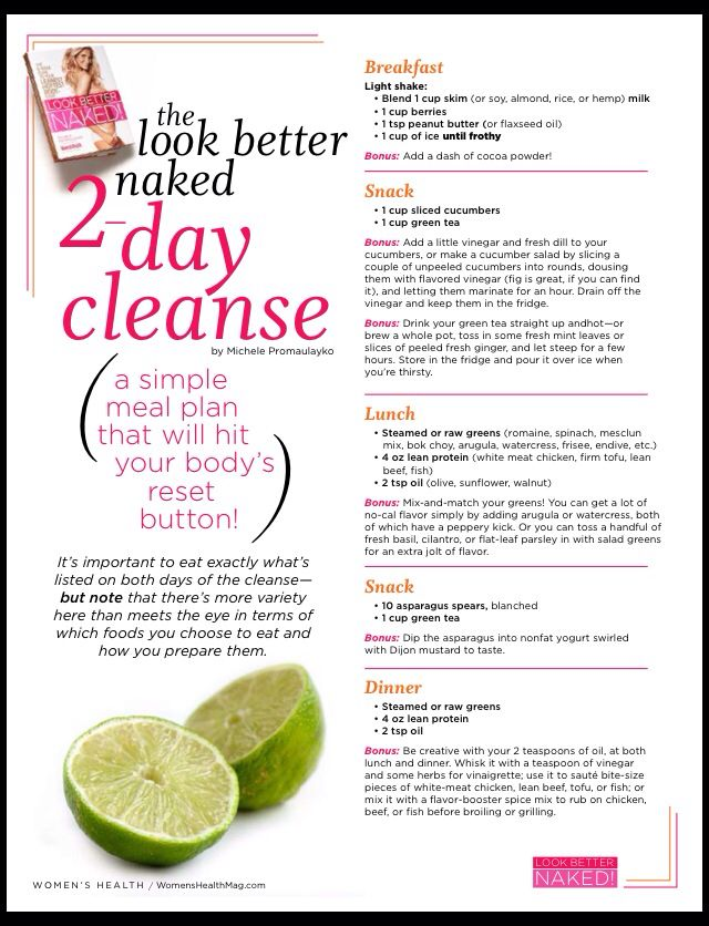 Look better naked 2 day cleansing meal plan | Detox and ...