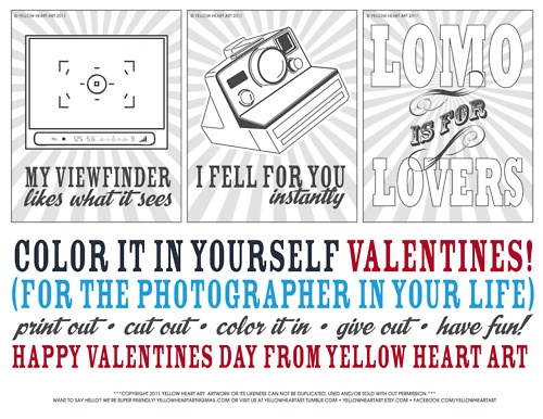 Free Color In Valentines For The Photographers Your Life