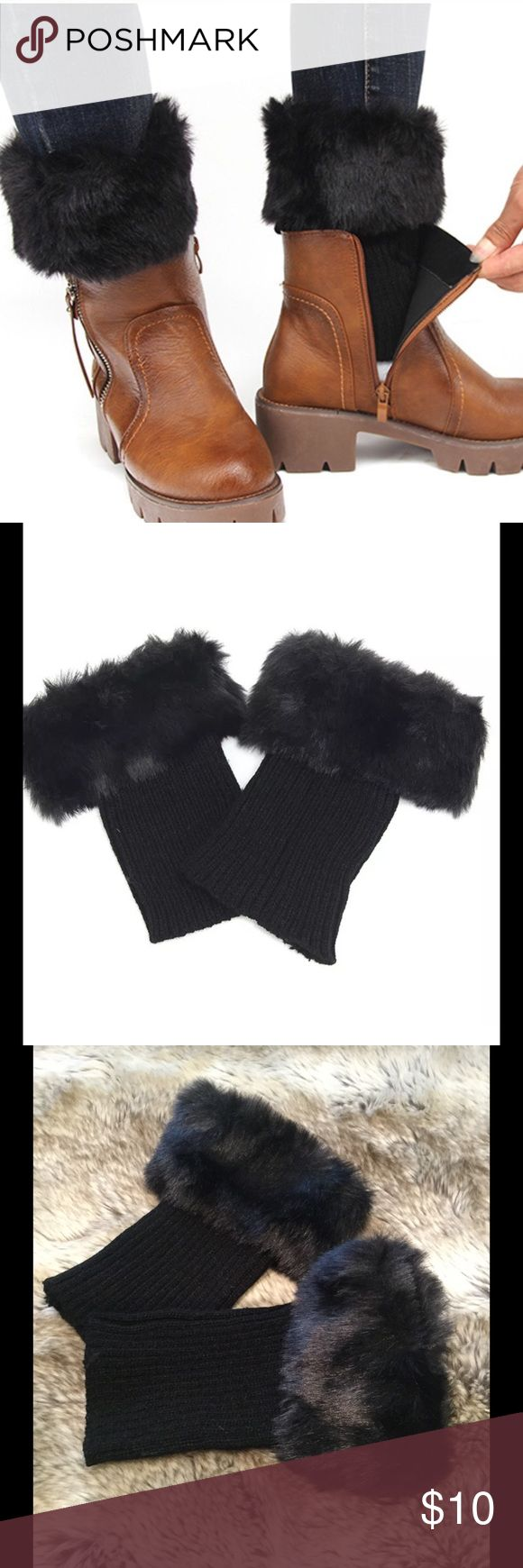 Black Faux Fur Boot Cuffs Faux fur boot cuffs. 7 inches long. 100% acrylic. Price is firm unless bundled. Accessories