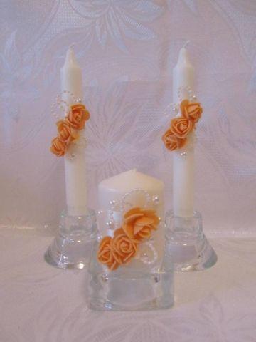оранжевые свадебные свечи купить